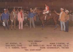 "Miss Jordash win picture 3/2/1985 with ""Tonight Show"" band leader Doc Severnsen"